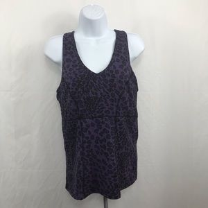 Tops - Purple leopard print work out tank top size large